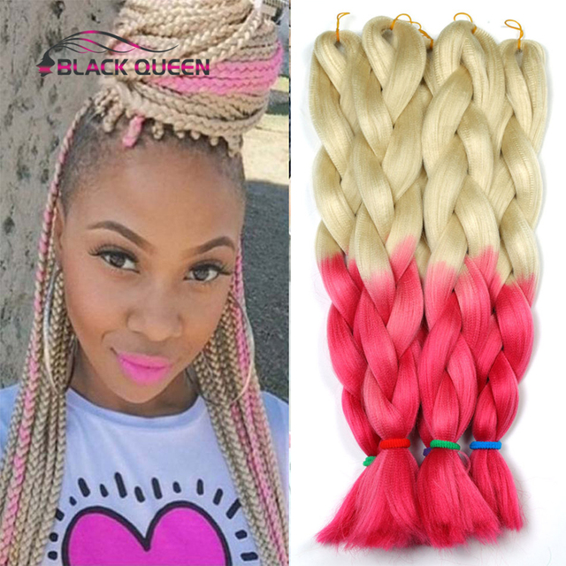 Platinum Blonde Pink 100grams 24inch Ombre Two Tone Crochet Braids Kanekalon Jumbo Braiding Synthetic Hair