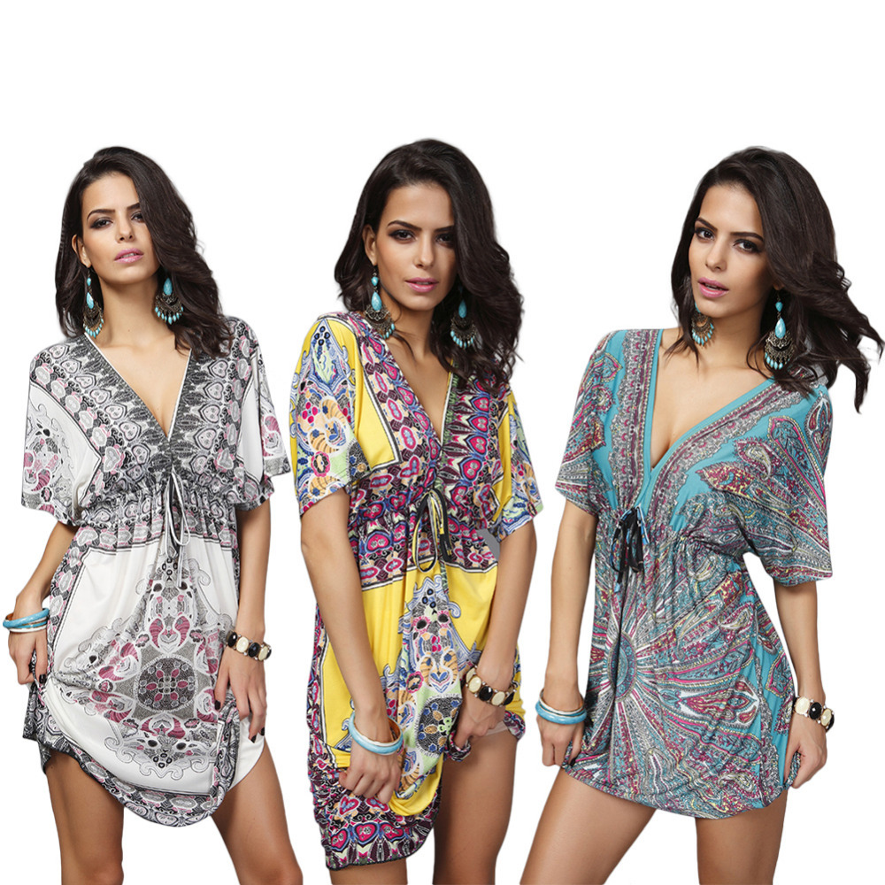Print Beach Dress Tunic Beachwear V-Neck Plus Size Bikini Cover Up Summer Swimwear Swimsuit Cover Ups Pareo Praia