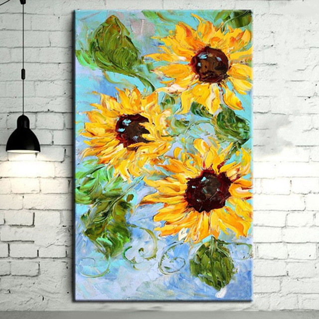 Large Yellow Sunflower Wall Art Picture Hand painted Knife Flower ...