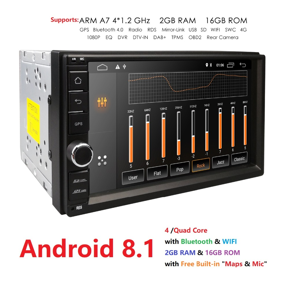 2 Din 7'' Android 8.1 Universal Car Radio No DVD Player GPS 2G RAM 32G ROM Car Stereo Audio Wifi4G Fast Boot Headunit Multimedia