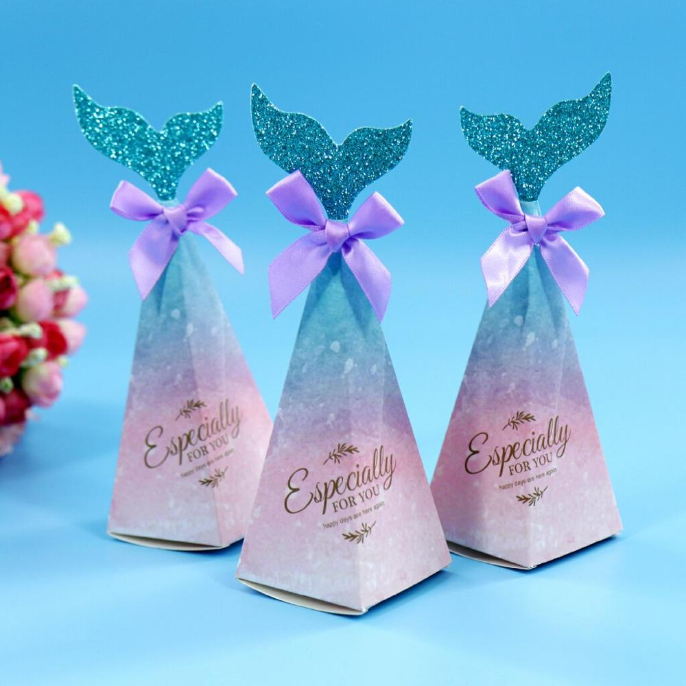 Bridal Party Wedding Gifts: New 20x6cm Mermaid Tail Candy Boxes Pink Mermaid Tail Bow