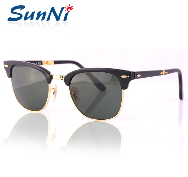 CLUBE da moda Óculos De Sol Do Vintage Sol Dobrável Óculos Feminino Óculos de Armação Preta Lentes Verdes Das Mulheres Designer De Marca Com Caixa de Caso