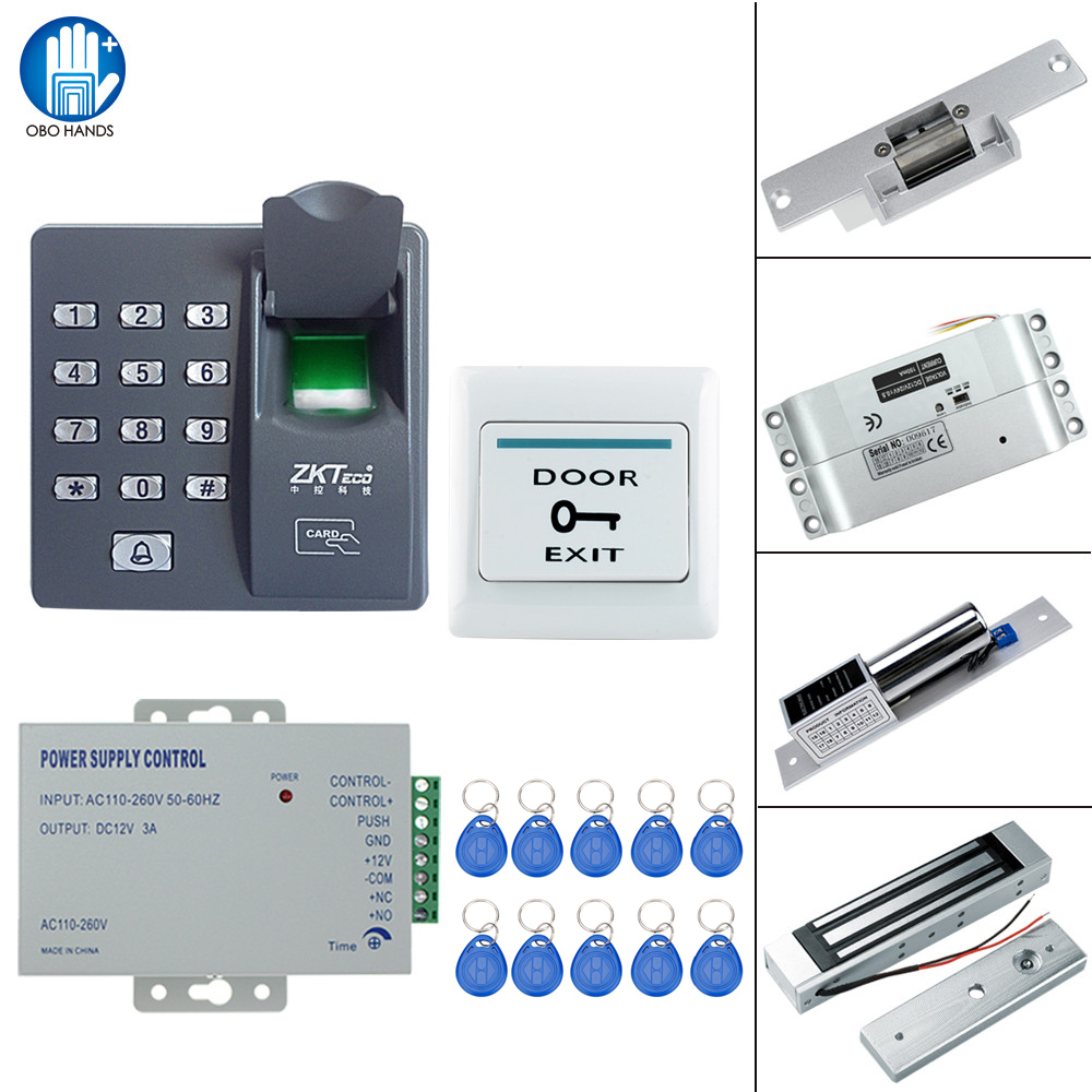RFID Fingerprint Lock System Kit Set 125KHz Access Control with 180KG Electric Magnetic Lock NONC Mortise