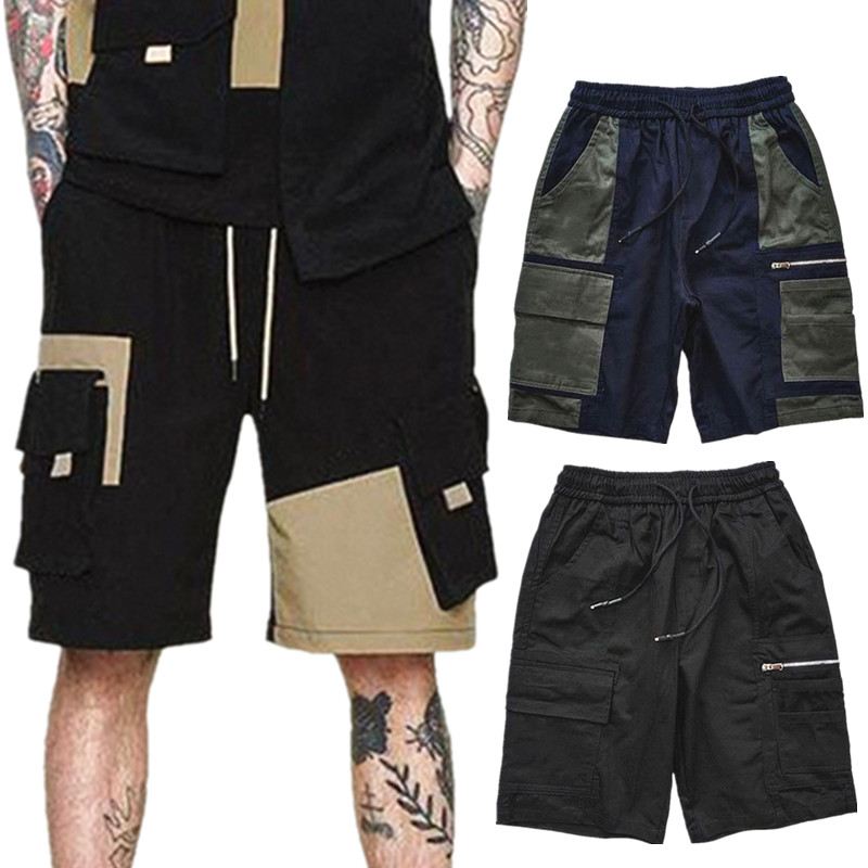 Bodybuilding Shorts Sweatpants Fitness Zipper Jogging Multi-Pocket Fashion Casual New