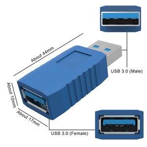 Image 4 - 90 degrés USB 3.0 A mâle à femelle Vertical gauche droite haut bas coudé adaptateur USB 3.0 M/F connecteur pour ordinateur portable ordinateur bleu