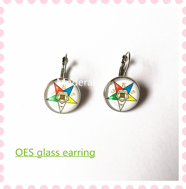 55758abfad1 2017 new 18mm copper round glass charm OES earring the order of the Eastern  Star DIY