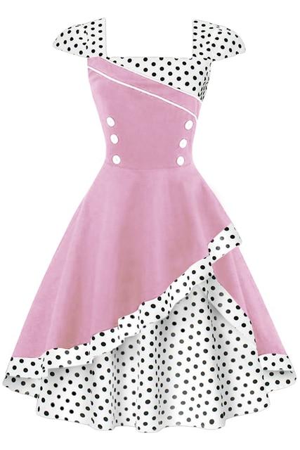 MisShow Womens Elegant 50s Petticoat Dresses Polka Dot Rockabilly Dresses Cocktail Dresses