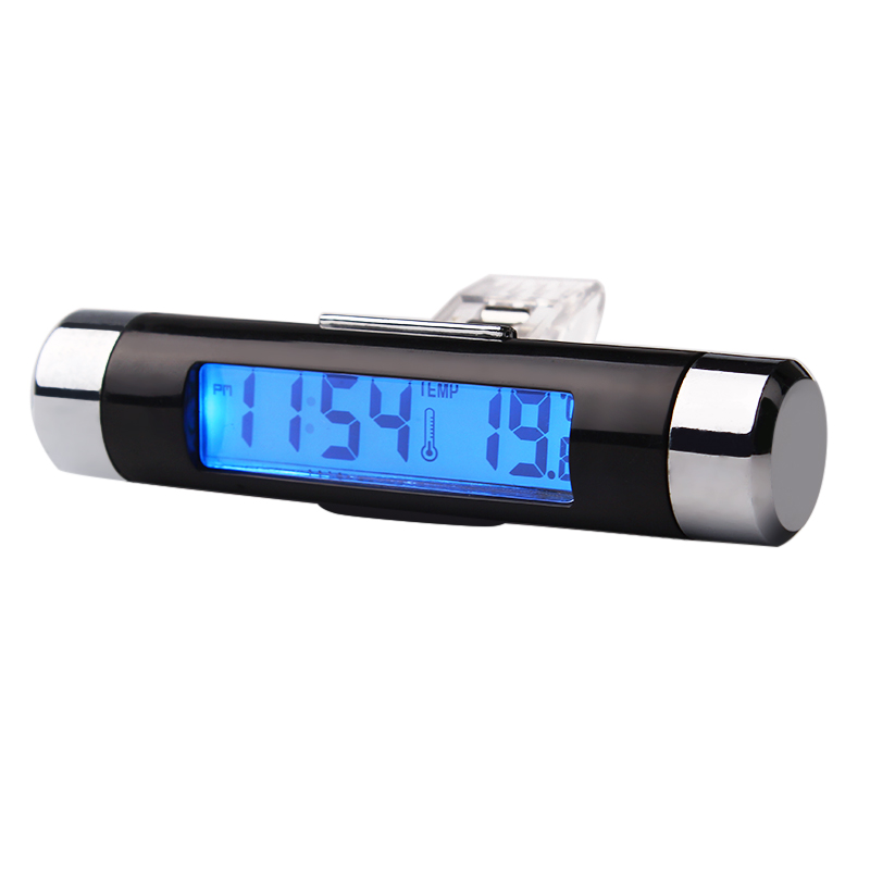 2 in 1 Thermometer Car Digital Time Clock LCD Display Screen Car Styling Blue Backlight Auto Accessories Air Vent Outlet #iCarmo