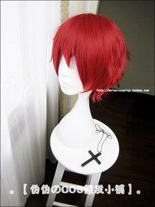 Image 3 - Suikast sınıfı Karma Akabane/Akashi Seijuro/Sasori Kısa Alev Kırmızı Cosplay Peruk Kostüm Yüksek Sıcaklık Fiber