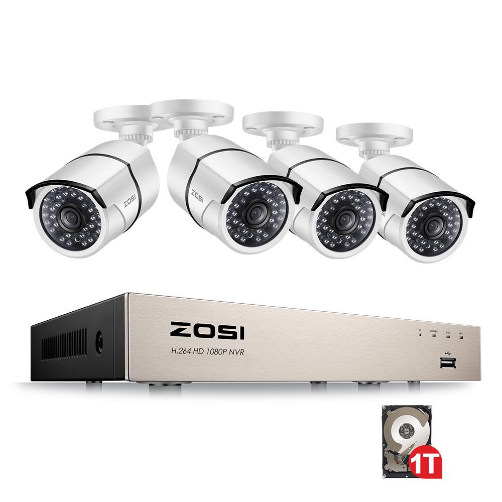 ZOSI 4CH NVR 1080P IP сети POE IP видео запись IR уличная камера видеонаблюдения системы безопасности дома видео наблюдения комплект 1 ТБ жесткого диска