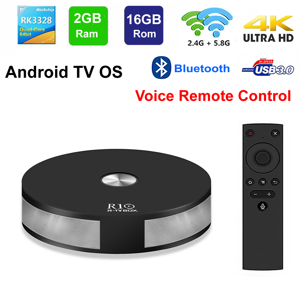R-TV BOX R10 Smart TV BOX Android TV OS Voice Remote Control RK3328 Quad Core 2GB 16GB 2.4G/5G Dual WIFI 3D 4K HDR USB3.0 BT4.1 цена