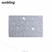 Sunbling Christmas Metal Cutting Dies Festive Alphabet Letter Stencils For Painting DIY Folder Decorative Card Paper Craft