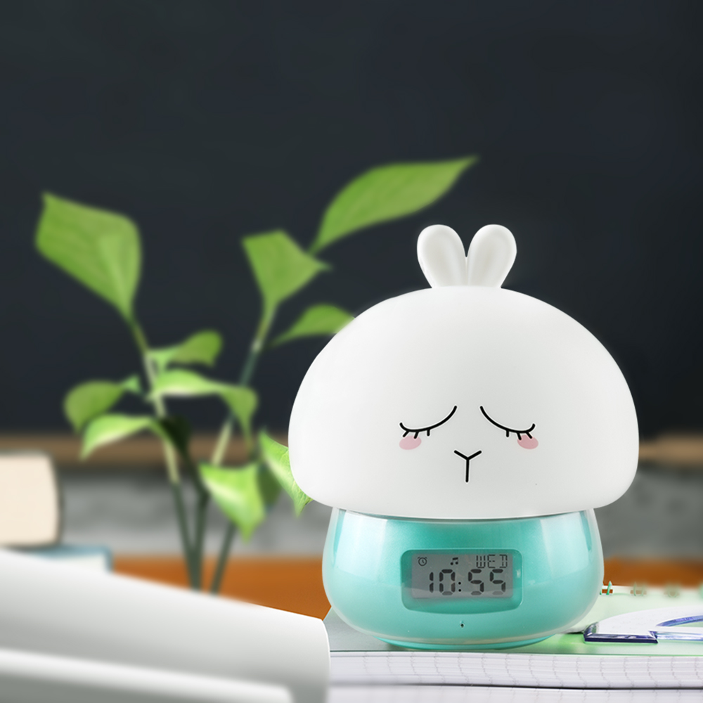 Rabbit Alarm Clock Recorder LED Night Light Remote Control Touch Sensor Colorful USB Rechargeable Silicone Bunny Bedside Lamp