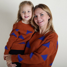 Fashion Mother And Daughter Clothes Geometric Pattern Printing Family Sweater For Children And Mom Family Matching Outfits