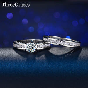 Wedding-Ring-Sets 925-Sterling-Silver Jewelry-Accessories Pave-Setting Crystal Cubic-Zirconia