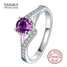 Simple Cute Design Fashion Purple CZ Diamant Engagement Rings Real 925 Sterling Silver Wedding Rings Women Fine Jewelry YR542