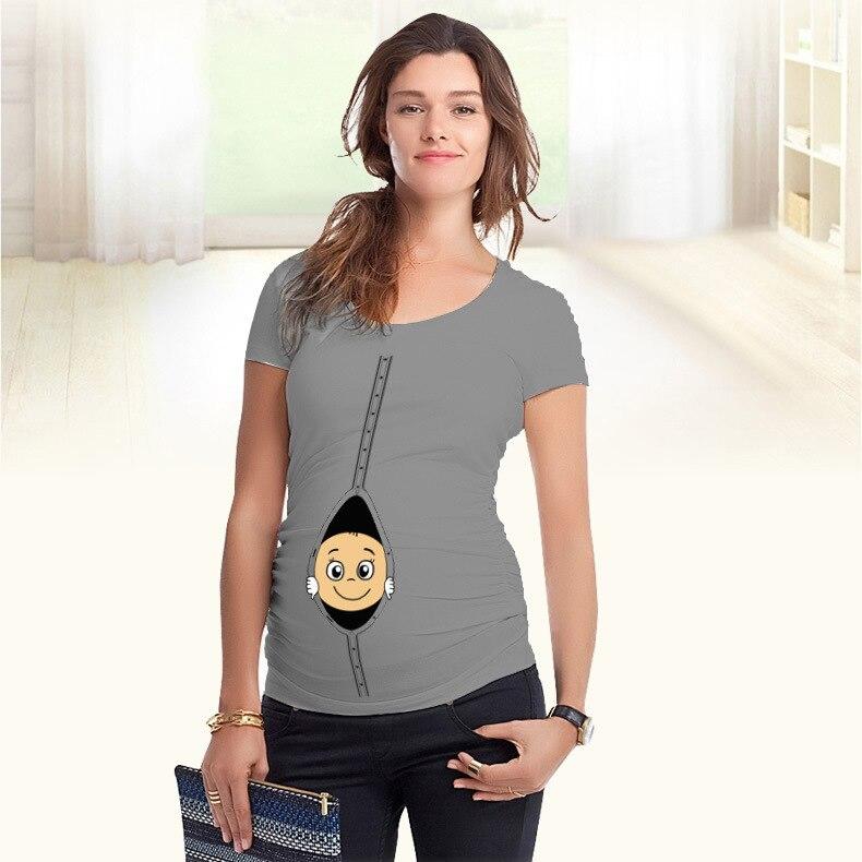 High Quality Baby Pee a Boo Print Maternity Shirt Cotton Funny Maternity Shirts Gravida Top Pregnancy Clothing WUA860401