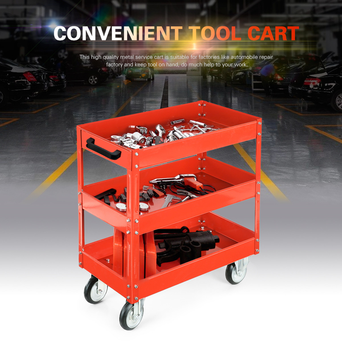 Heavy   Workshop Garage DIY Tool Storage Trolley Wheel Cart Tray 3 Tier Shelf 200kg Load Capacity for Holding Heavy Equipment
