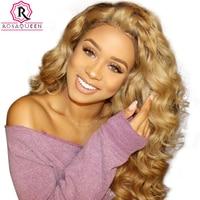Блондинка парик красочные 250% плотность свободная волна Синтетические волосы на кружеве парики с ребенком волос #27 бразильский человечески