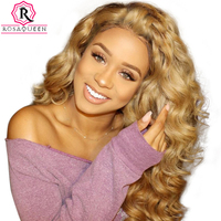 Honey Blonde Wig Colorful 250% Density Loose Wave Lace Front Wigs With Baby Hair #27 Brazilian Human Hair Wigs Remy Rosa Queen