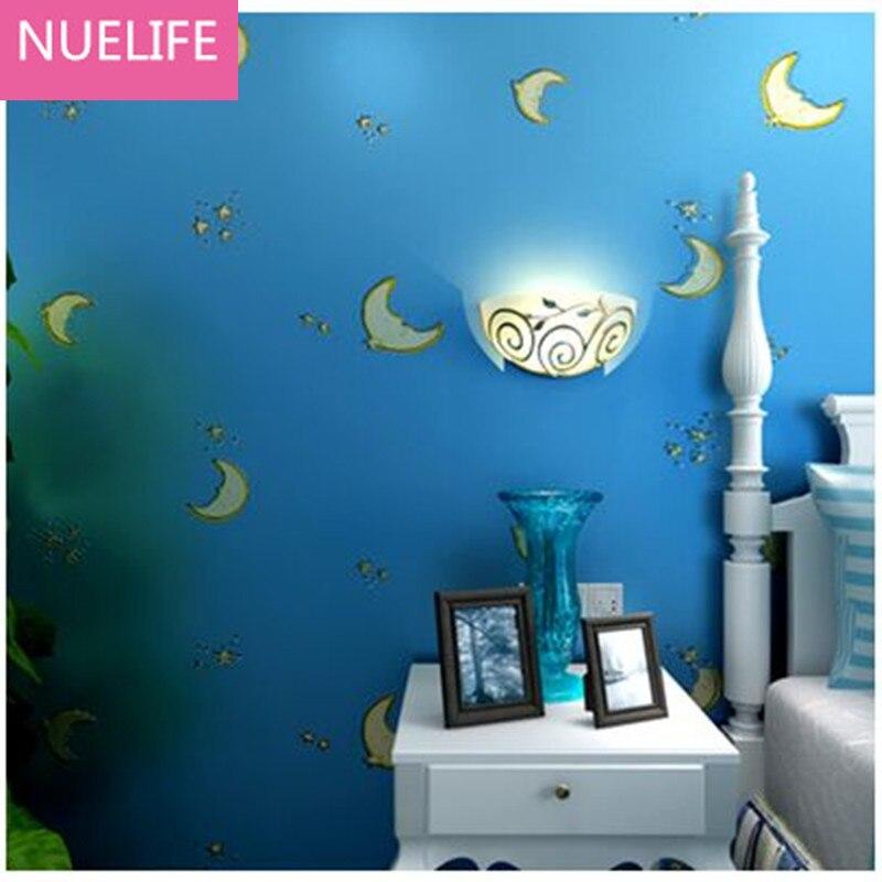 0.53x10m Cartoon star moon pattern nonwoven wallpaper  children bedroom  study room living room decoration wallpaper N4