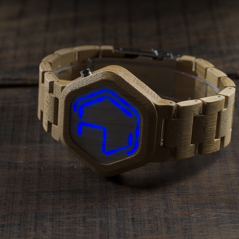 Image 5 - BOBO BIRD V E03 Casual LED Digital Bamboo Watch Night Vision LED Watch Cool LED Display Clock with Unique LED Date Dayclock ledclock with dateclock digital led -