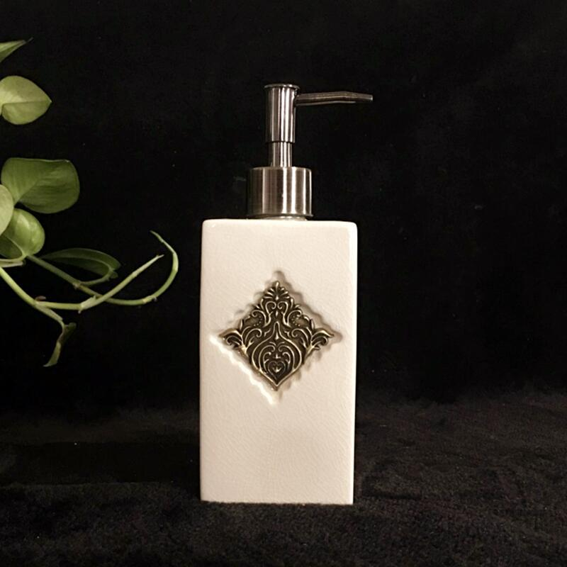NarwalDate Ceramic Hand Soap Dispenser Pump Special Surface Treatment Broken Line Bronze Wire Pattern Bathroom Deco Elegant Gift