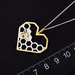 Image 3 - Lotus Fun Real 925 Sterling Silver Fine Jewelry Honeycomb Home Guard 18K Gold Bee Love Heart Pendant without Chain for Women