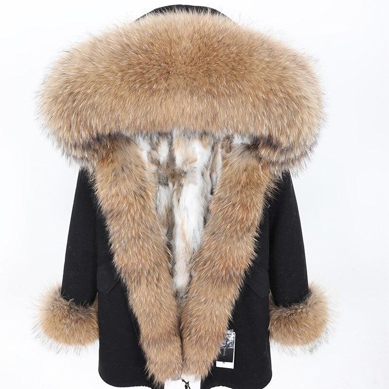 2019 Real Fur Coat Winter Jacket Women Natural Raccoon Fur Collar Rabbit Fur Liner Thick Warm Streetwear Brand Luxury Detachable