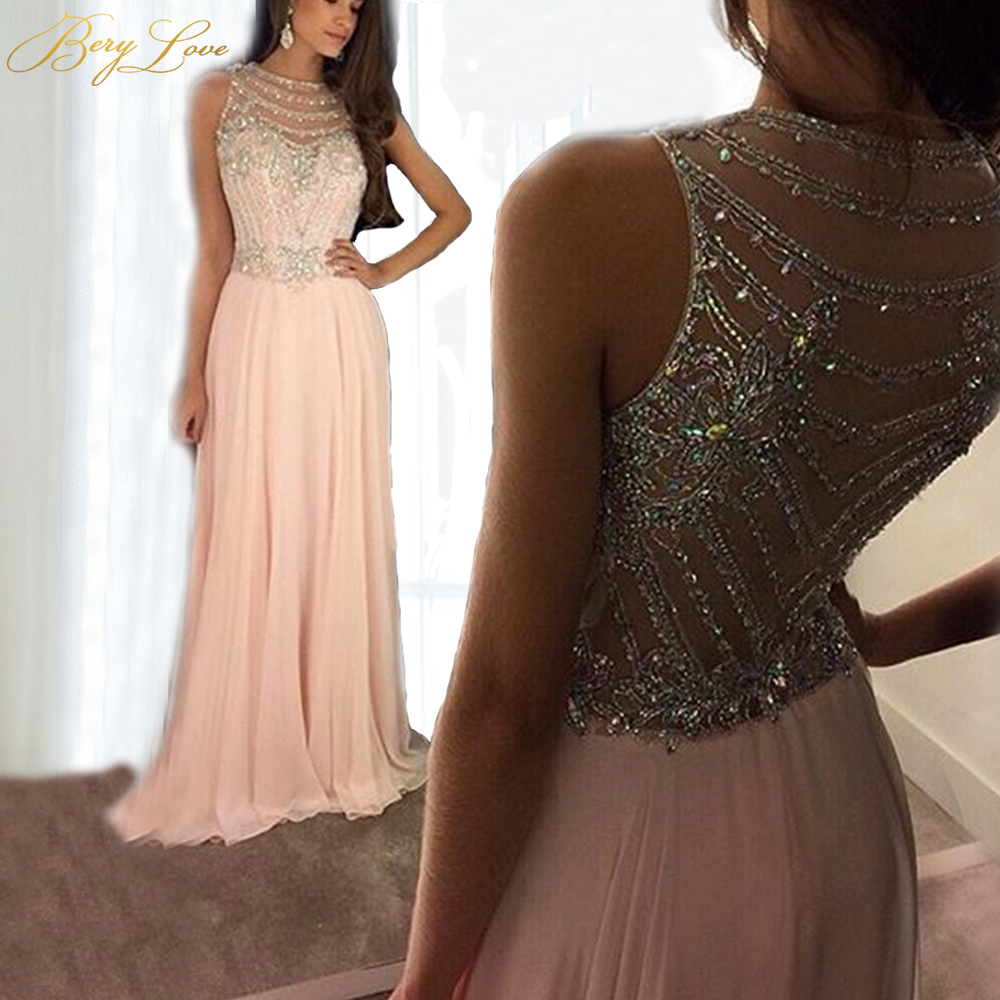 BeryLove Pink Elegant 2019 Evening Dresses Long A line Scoop Sequins Chiffon Sleeveless Beaded Prom Dresses