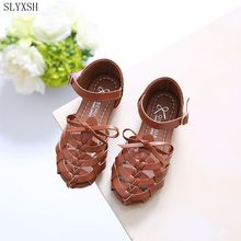 SLYXSH2017 PU Leather Bow Kids Shoes For Girl Princess Party Wedding Dance Baby Girl Shoes For Children black Shoes Spring Summe