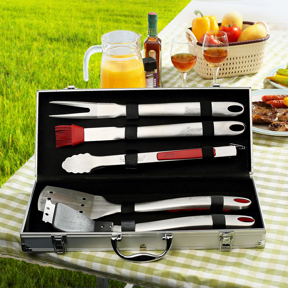 SUNNECKO Portable 6pcs BBQ Grilling Tool Set Aluminum Storage Case Stainless Steel TPR Handle Barbecue Tongs Spatula Fork Brush