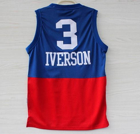 outlet store a4e35 9aa0e Allen Iverson Jersey Red White Blue Black Gray #3 MESH Allen ...