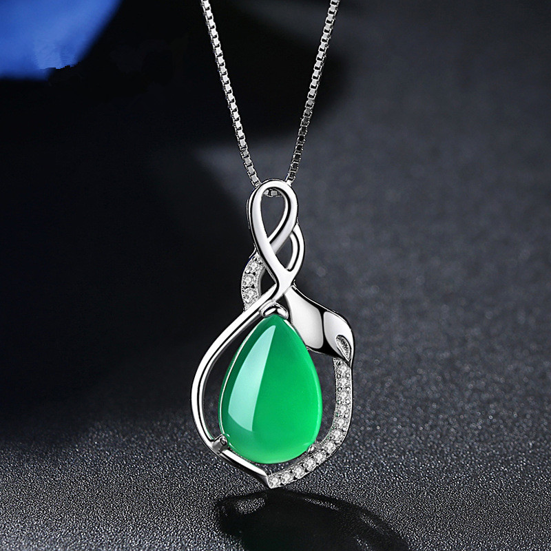 Իրական 925 արծաթե վզնոց զմրուխտ AAA Crystal - Նուրբ զարդեր - Լուսանկար 4