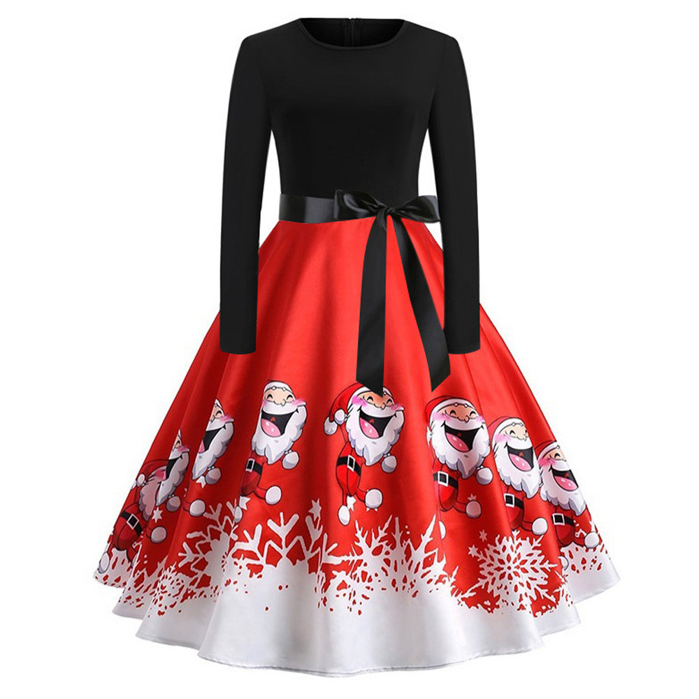 Clothing, Shoes & Accessories Dresses Women Christmas Swing Evening ...