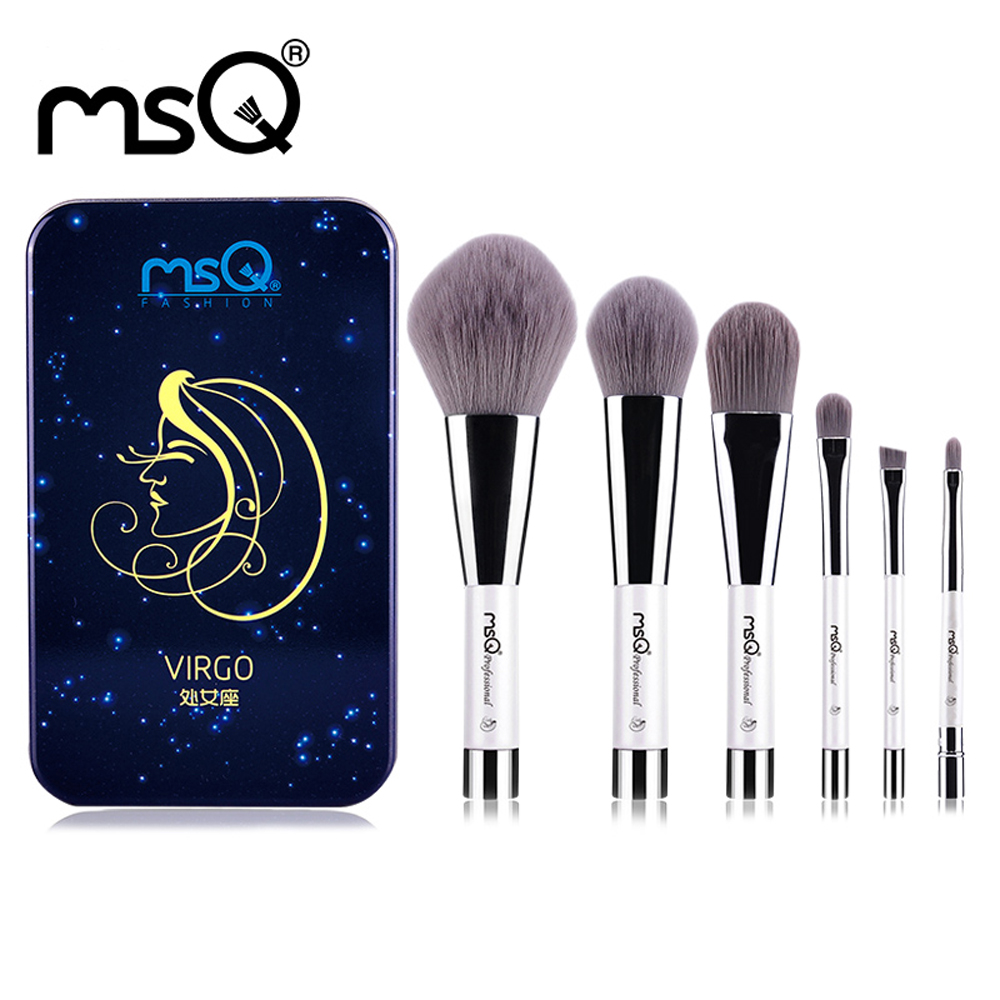 MSQ 6pcs Makeup Brushes Set Synthetic Hair Portable Make Up Brush Short Handle 12 Constellation Series With Magnetic Case блеск для губ msq 6 cristal led msq cc01 6