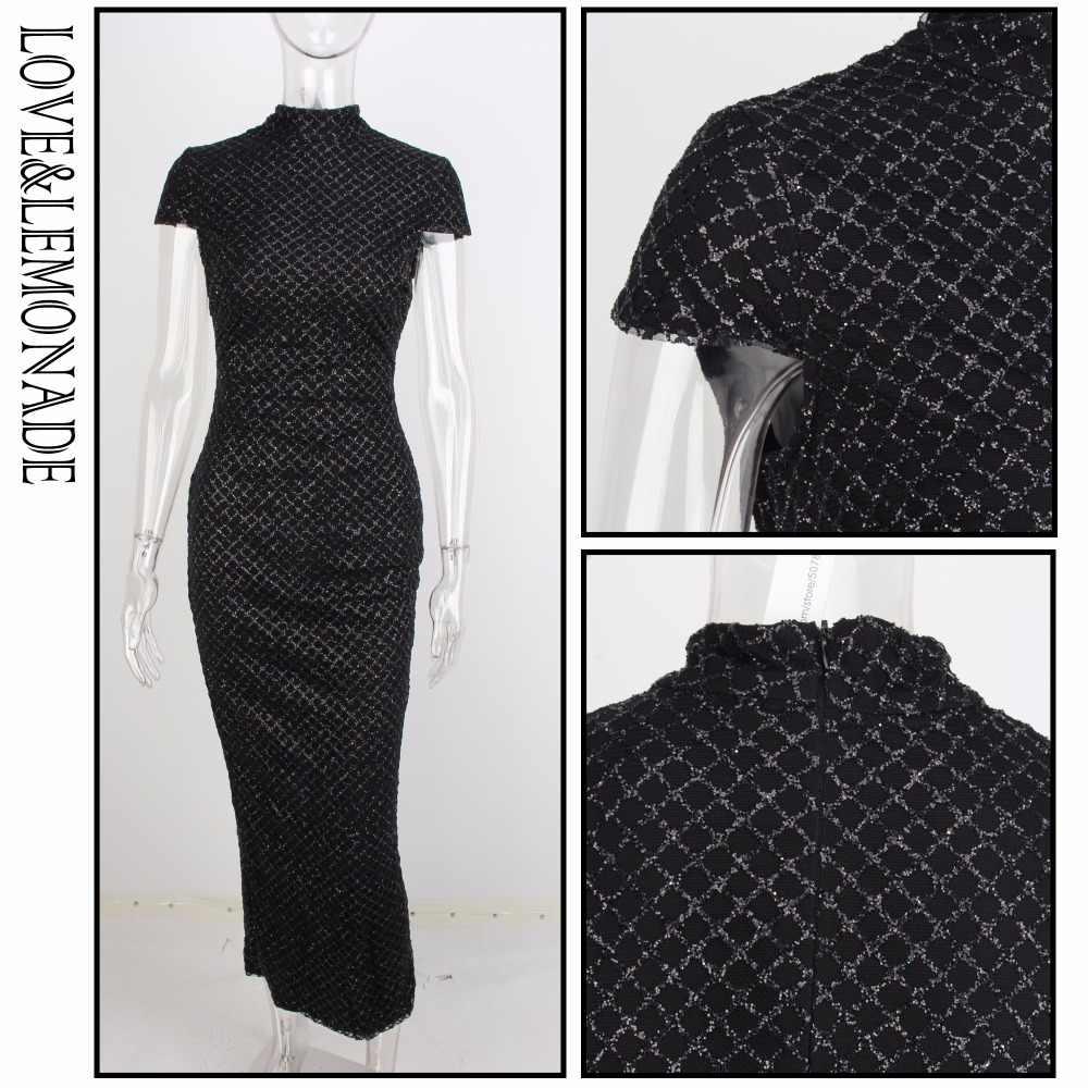 Любовь и лимонада черный воротник-стойка в клетку Gillter Материал Тонкий вечерние платье LM0882