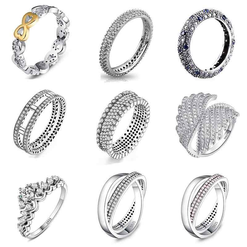 9 Style 1Pcs Women 925 Sterling Silver Rings Jewelry Wing Flower Crown Double Circles Style Ring For Women Jewelry