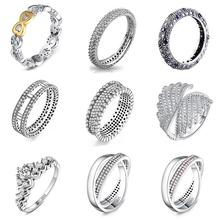9 Style 1Pcs Women 925 Sterling Silver Rings Jewelry Wing Flower Crown Double Circles Style Ring For Women Jewelry недорого