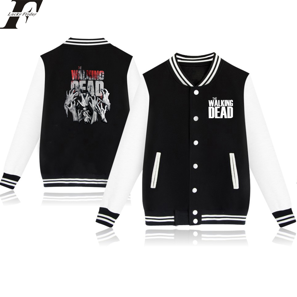 The Walking Dead Baseball Jacket Size 4XL Men/Women Outwear Coat Spring Jacket College Style Long Clothes Fashion Streetwear