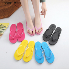 Jinsen Aite Womens Shoes Summer Style Flip Flops Couple Men Beach Sandals Candy Colors Fashion Non-slip Seaside XL374