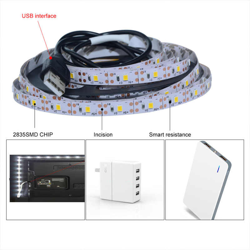 LED Di Bawah Kabinet Lampu Cahaya Putih/Warm White LED Strip 60 LED/M Fleksibel Pita LED Lemari Dapur light 5 V USB Port TV Backlight