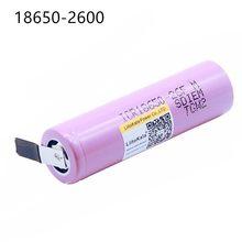 Liitokala bateria de equipamento, para bateria de led 18650 2600 mah 3.6 v, lanterna, bateria de áudio + folha de níquel faça você mesmo