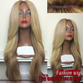 Natural big wave Ombre Synthetic Lace Front Wig Champagne Color #22 to Brown Color #5 , which is made of Heat Resistant Fiber.