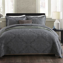 Quality Bedspread Cotton Quilt Set 3pcs Coverlet Solid Embroidered Quilted Quilts Bed Cover King Queen Size Bedding Gray Blanket цена 2017