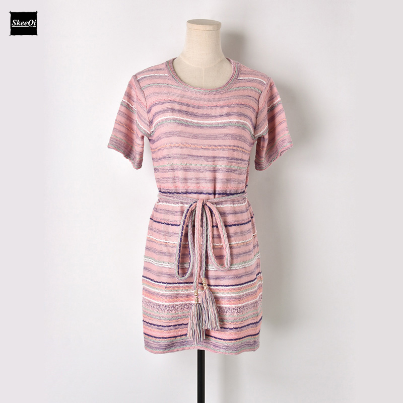 2018 New Sweater Dresses Women Sashes Elegant Striped Runway Designer Office Casual Dress Patchwork Summer Knitwear Vestidos