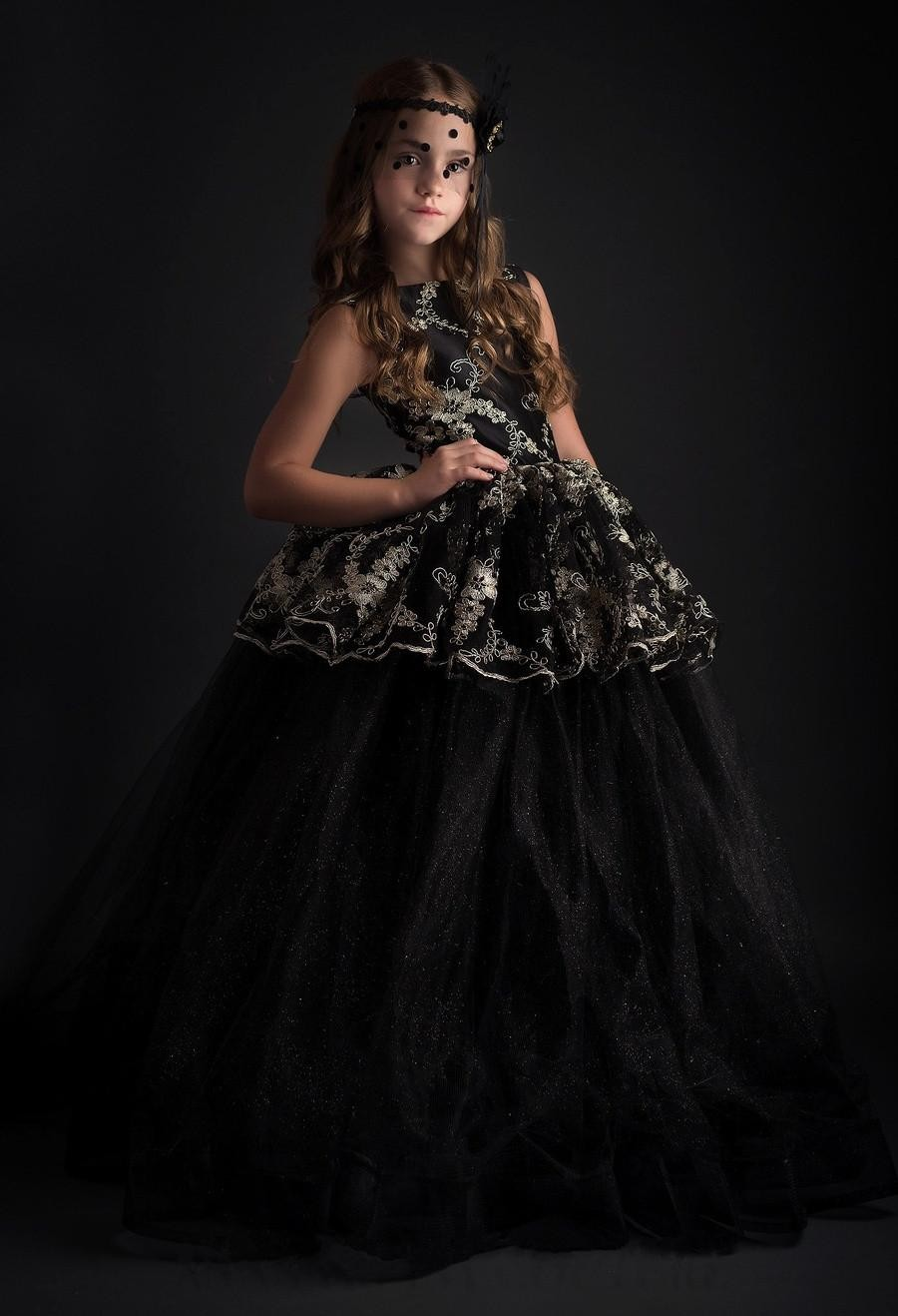 Gorgeous Vestidos Primera Comunion Zipper Button Open V Back Lace Appliques Tulle Ball Gowns Black Tulle Little Girls Dresses 12 цена и фото