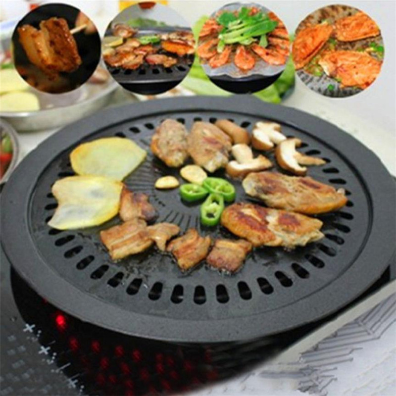 32cm Round Iron BBQ Grill Korean Style Home Party Non-stick Smokeless Barbecue Pan Meat BBQ Gas Stove Plate #L Гриль