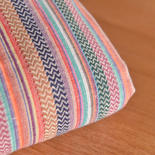 Folk Style Orange Color Stripe Cotton Bar Table Sofa Cloth Bag Long Skirt  Fabric Hand Hold
