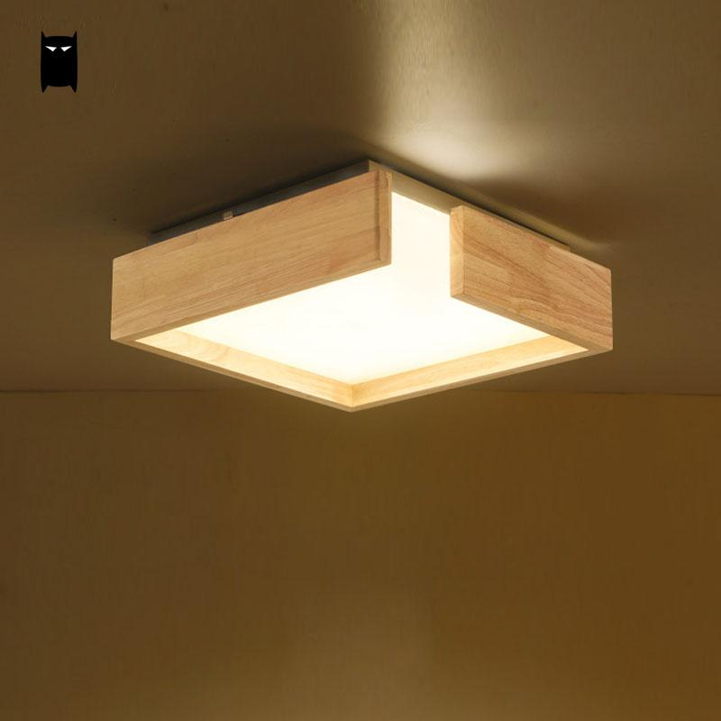 LED Wood Acrylic Square Shade Ceiling Light Fixture Nordic Simple Surface Mounted Plafon Lamp Foyer Bedroom Living Room Kitchen